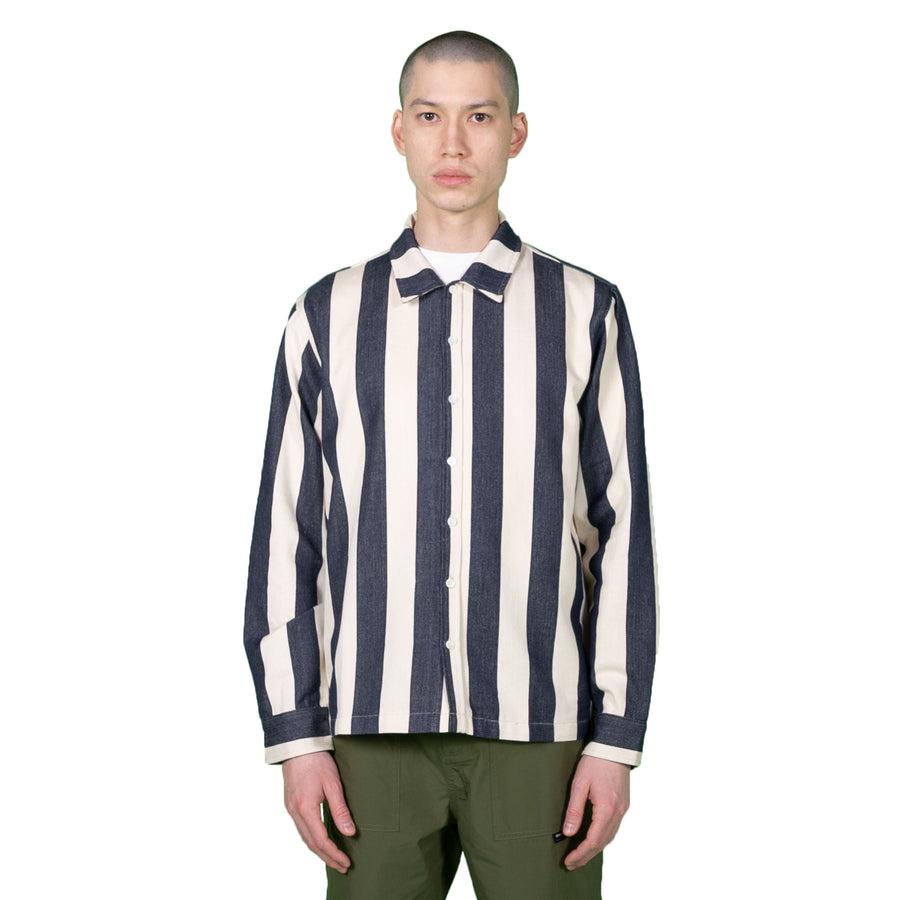 Native North Owen Striped Overshirt in Navy