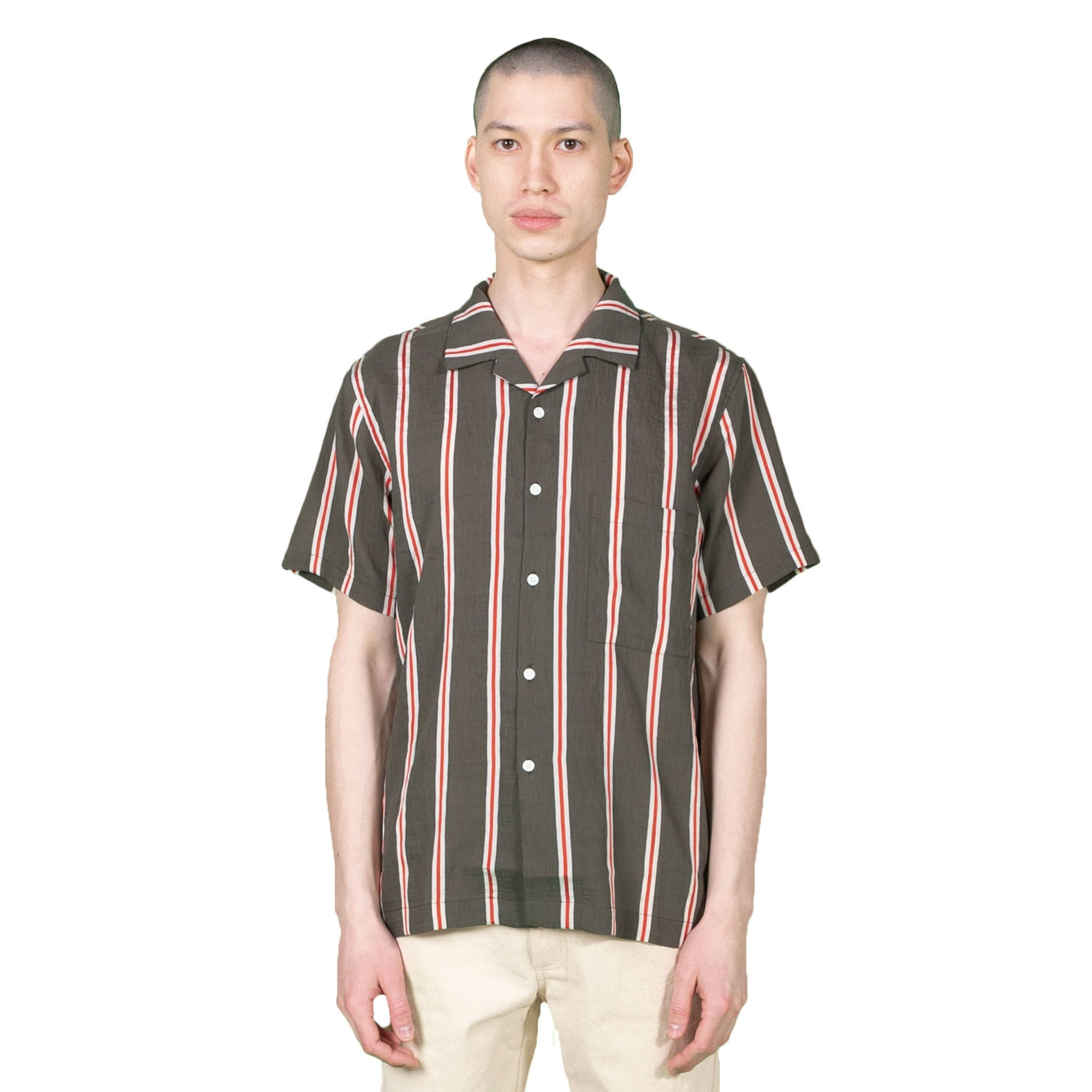 Native North Striped Silk Shirt in Green
