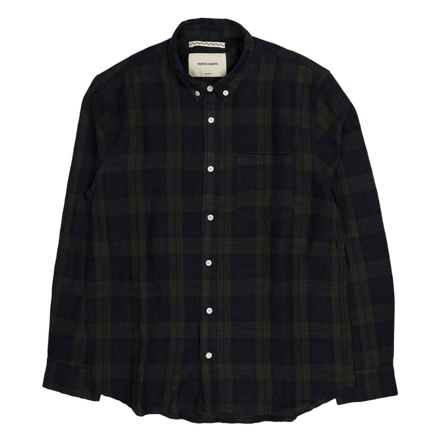 Blackwatch Heavy Linen Shirt - Green/Navy
