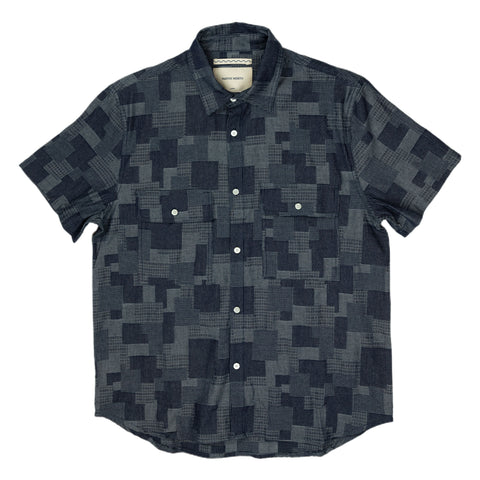 Native North Denim Patchwork Shirt in Navy