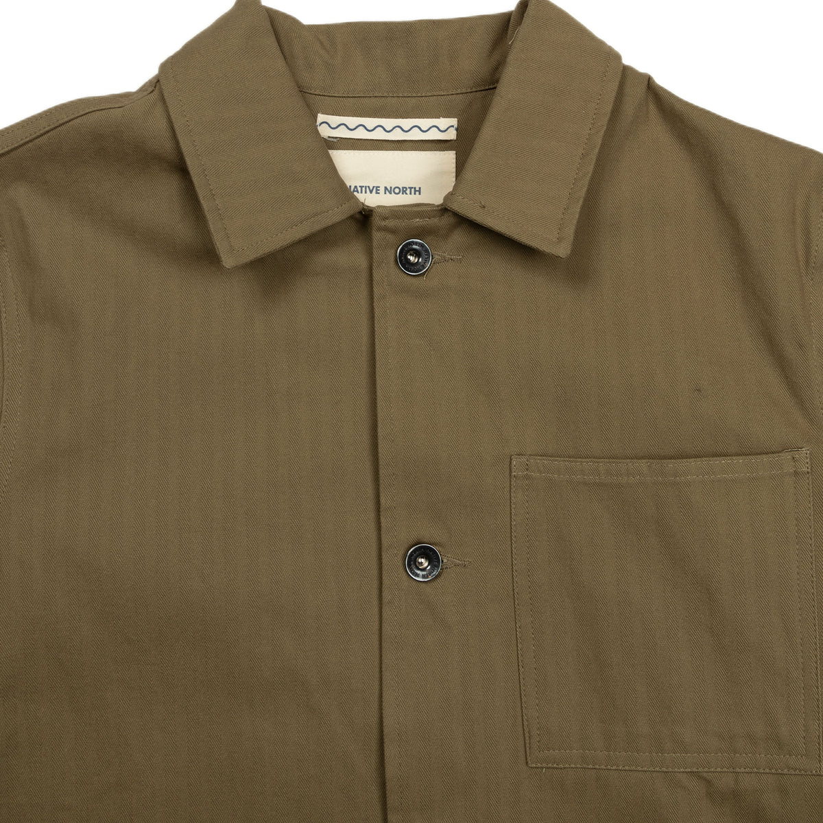Native North Herringbone Utility Jacket in Green Collar Detail