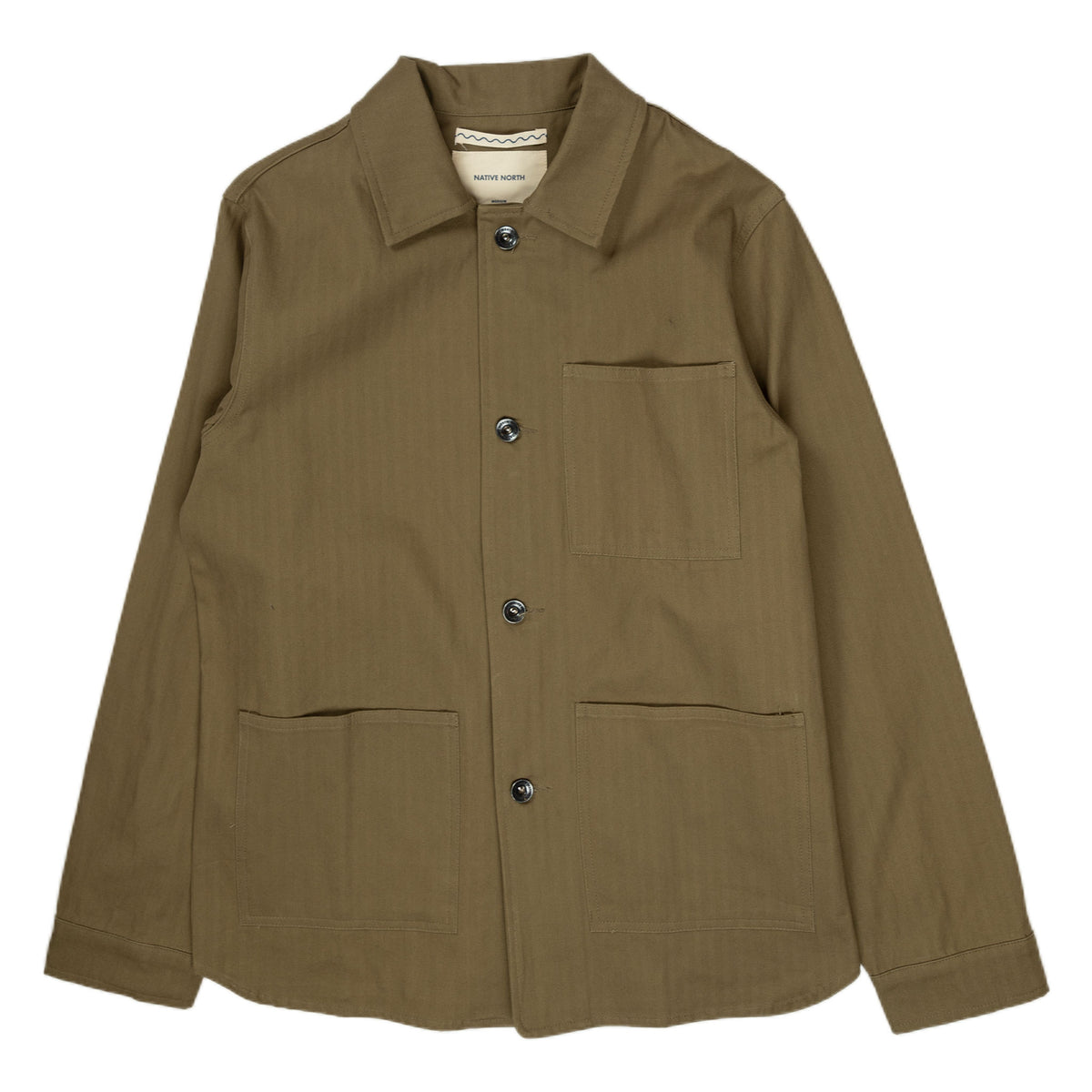 Native North Herringbone Utility Jacket in Green