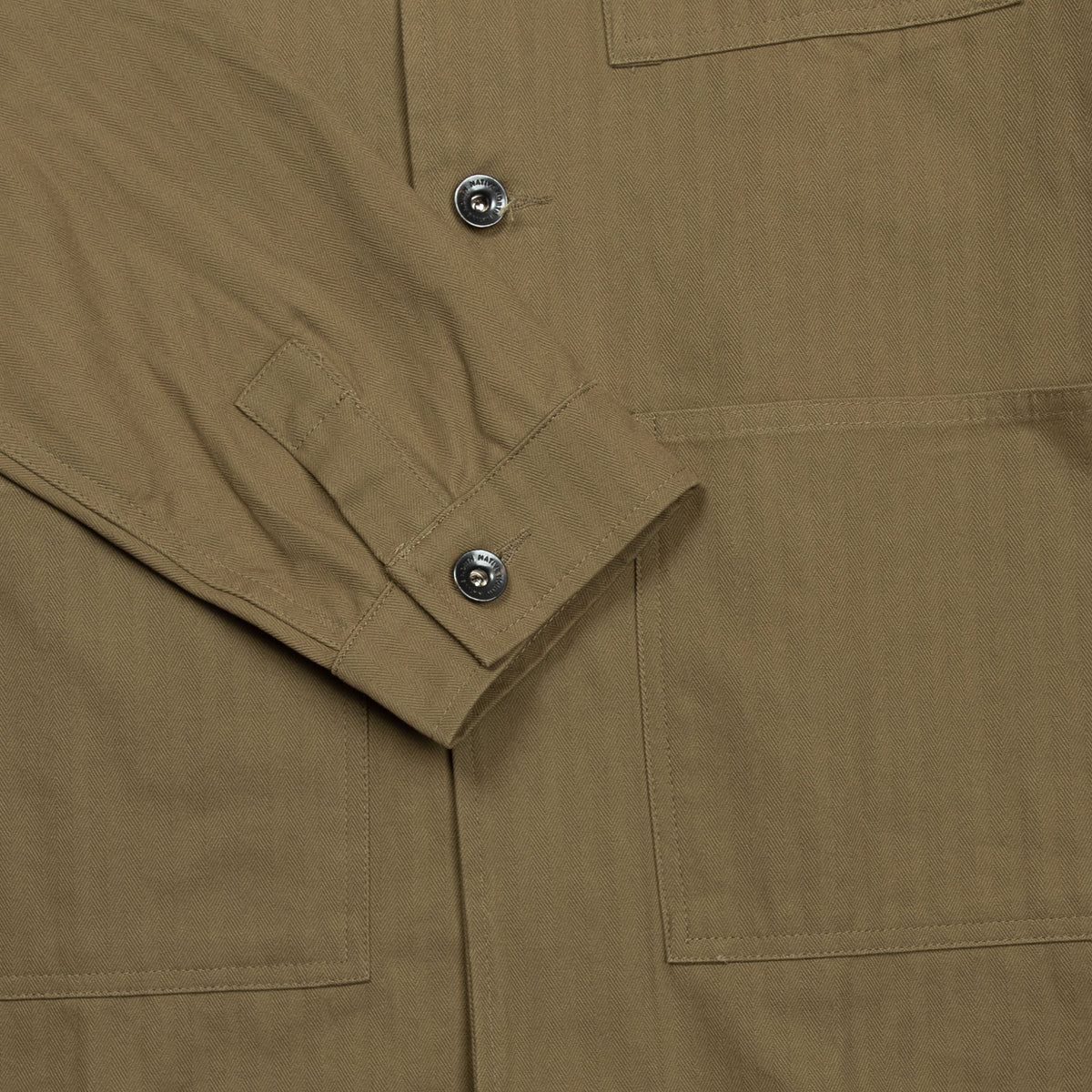 Native North Herringbone Utility Jacket in Green Cuff Detail