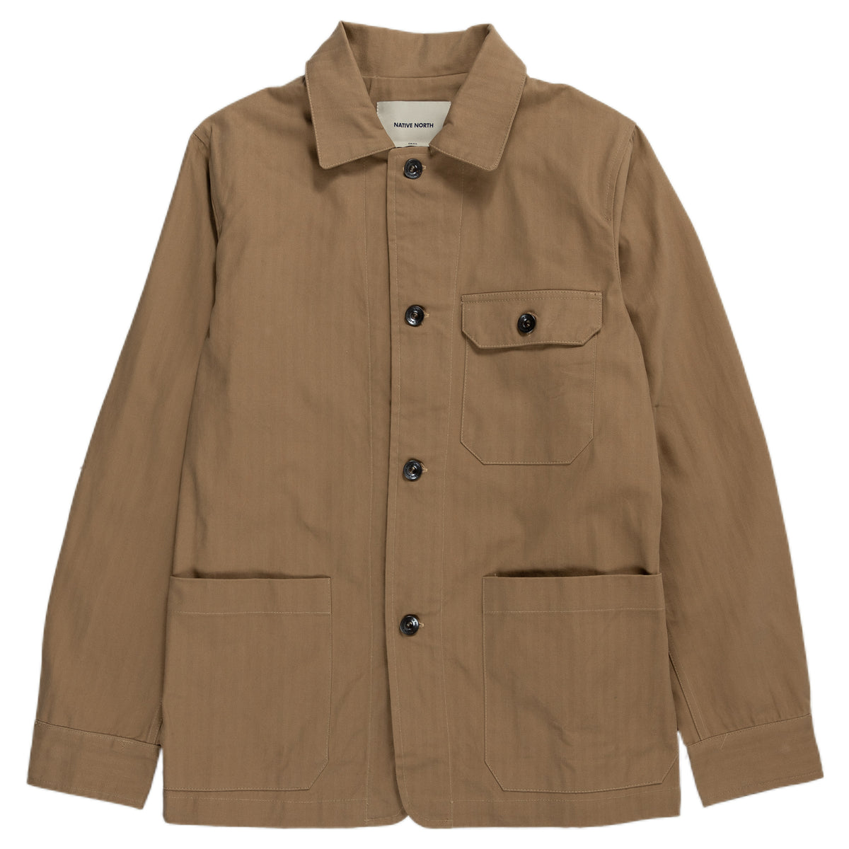 Native North Herringbone Utility Jacket Outerwear Khaki Front