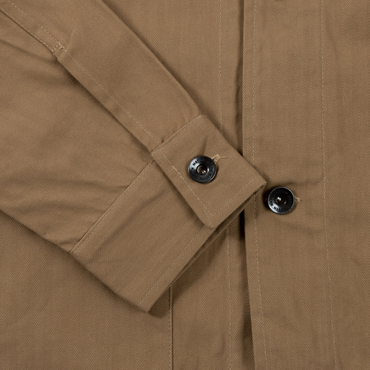 Native North Herringbone Utility Jacket Outerwear Khaki Cuff Detail