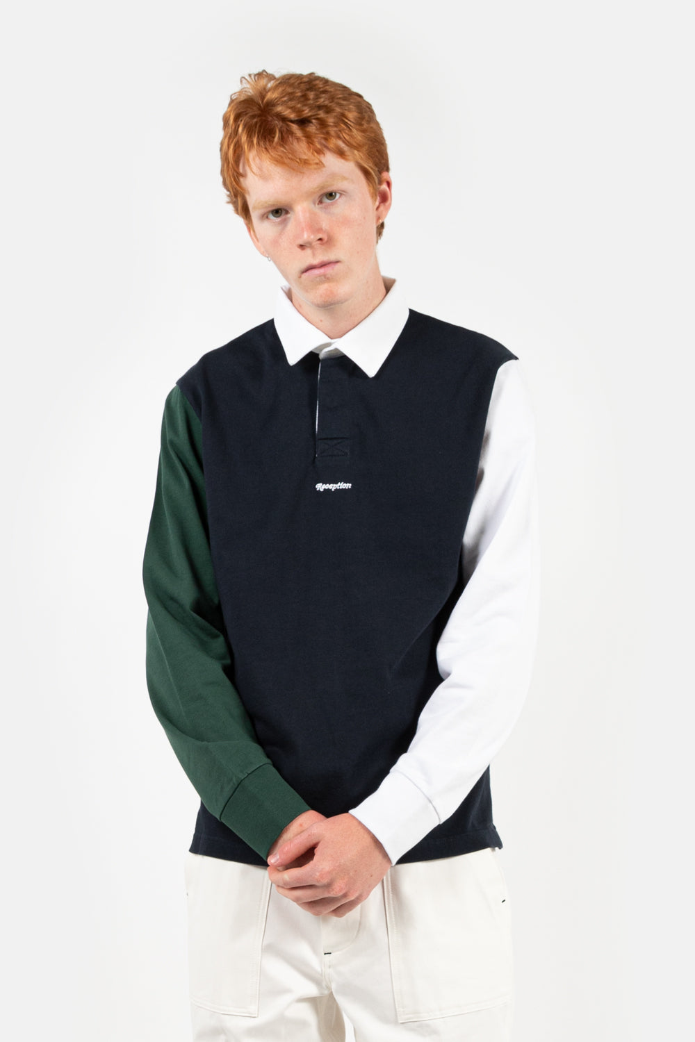 reception rugby polo shirt in color block