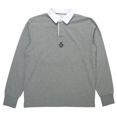 reception rugby polo grey marl longsleeve