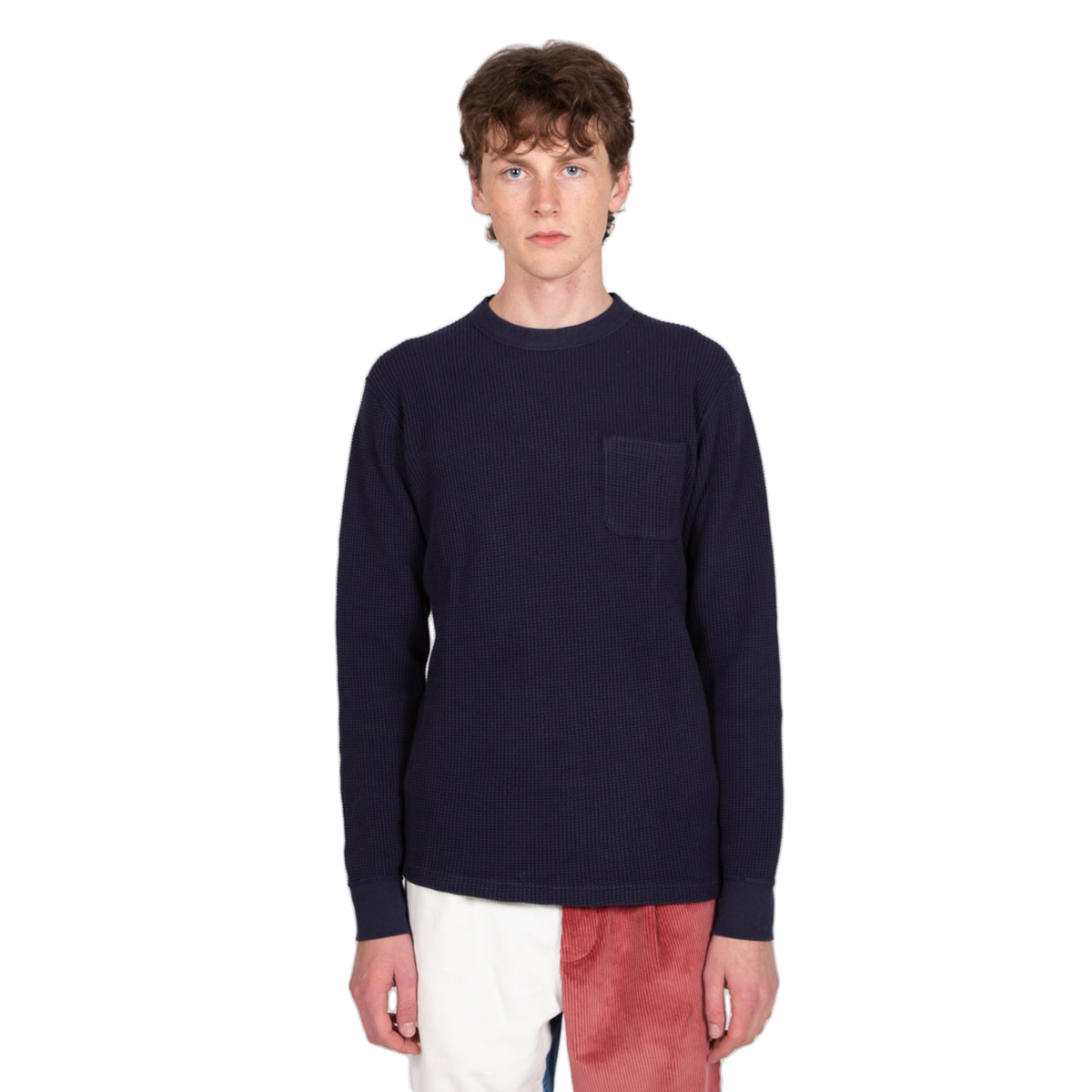 reception waffle long sleeve sweat navy