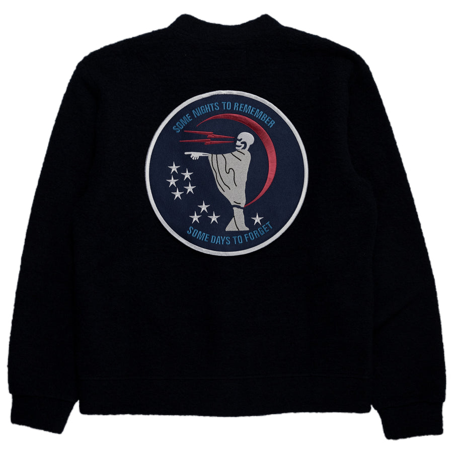 Reception SC Wool Mix Cardigan Navy Patch Back