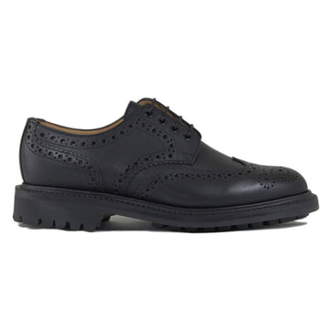 Sanders Salisbury Gibson Brogue Shoe Leather Footwear in Black Side
