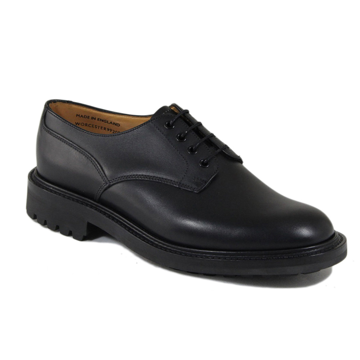 Sanders Worcester Gibson Derby Shoe Leather Footwear in Black Angle