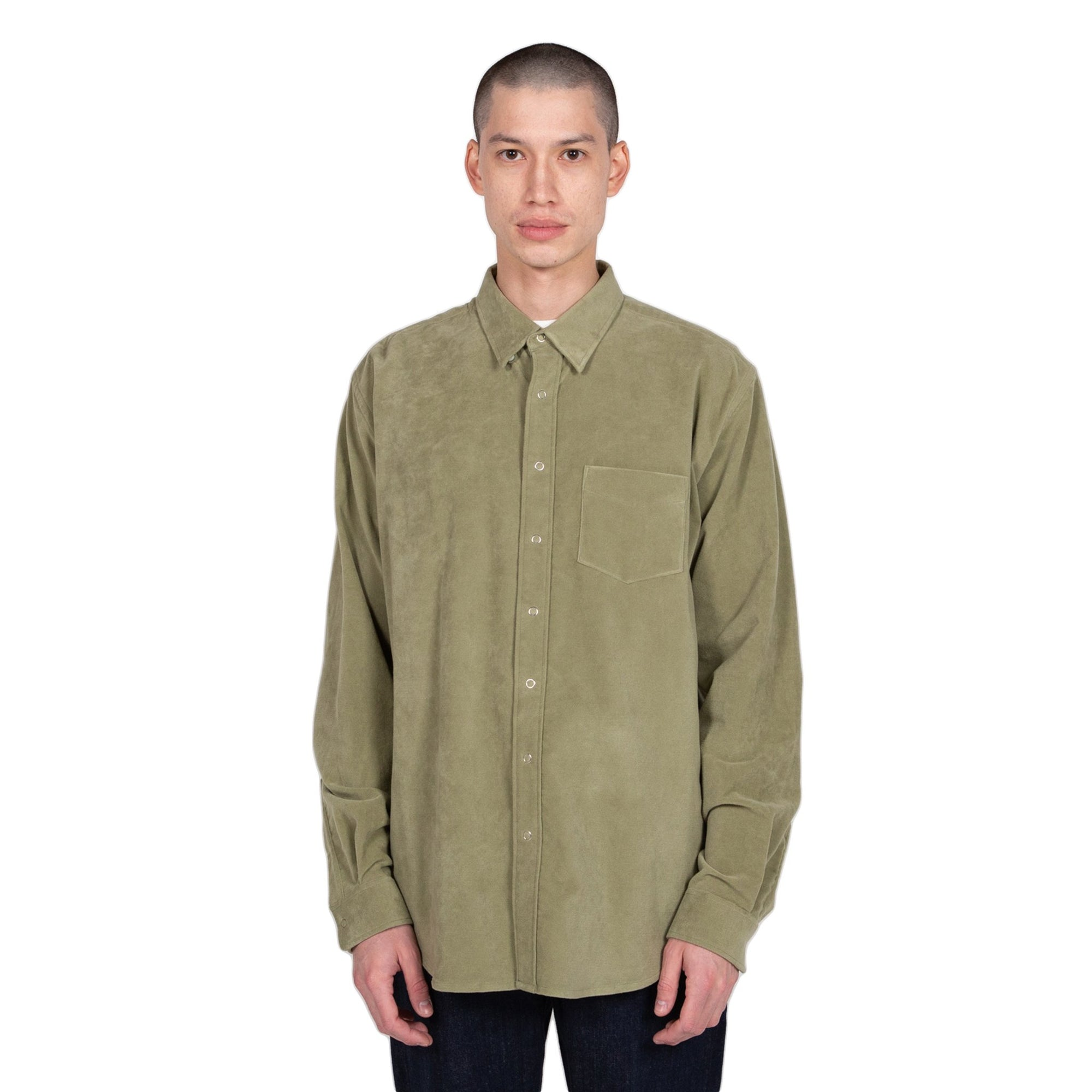 schnaydermans moleskin button down shirt olive front