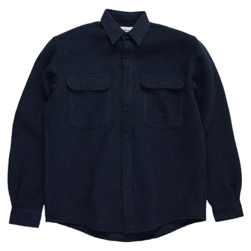 schnaydermans boxy waffle shirt navy front