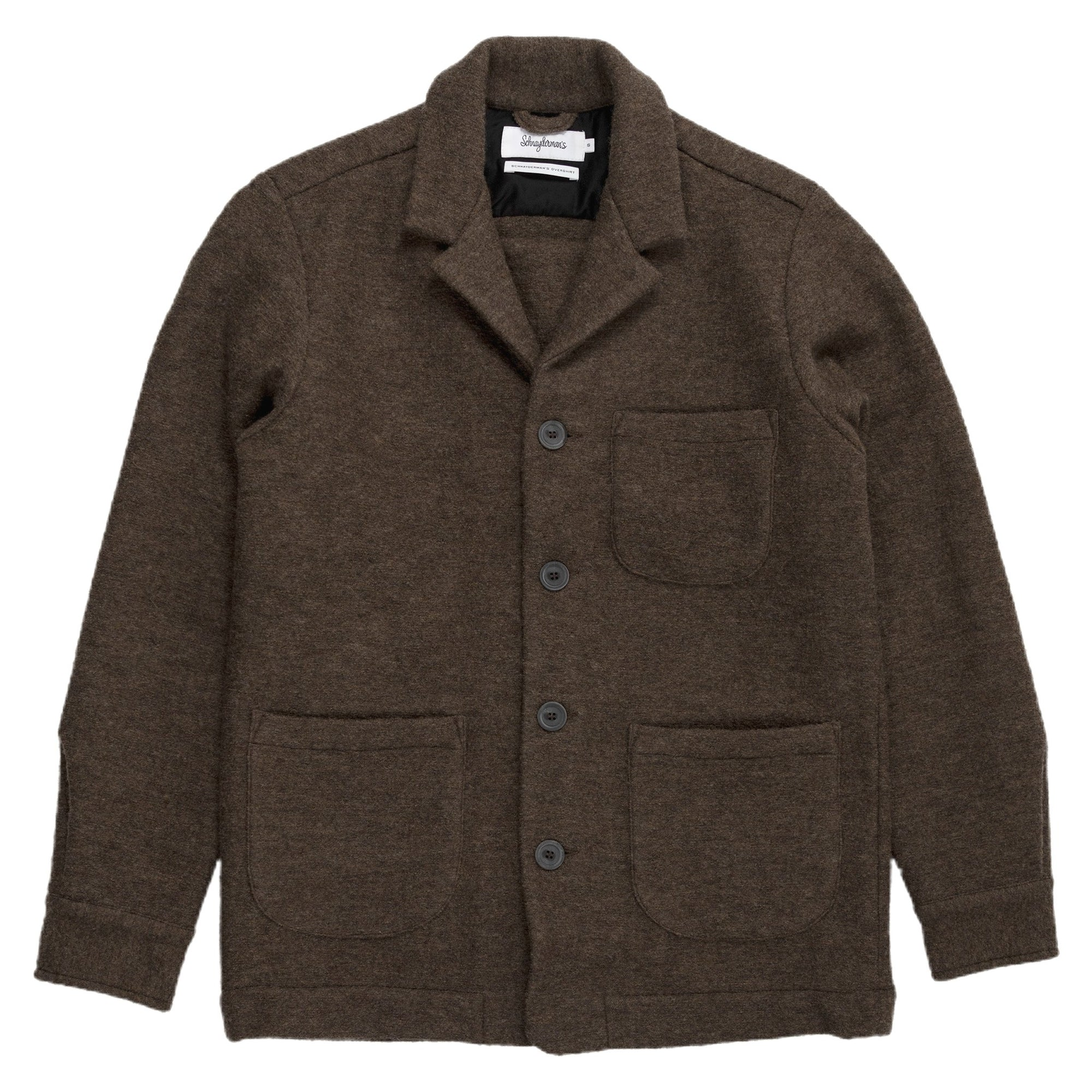 schnaydermans overshirt virgin wool walnut front