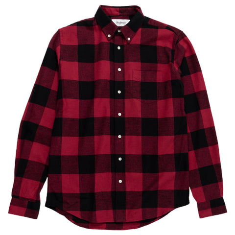 Shirt BD Twill Flannel Large Check - Cadmium Red/Black