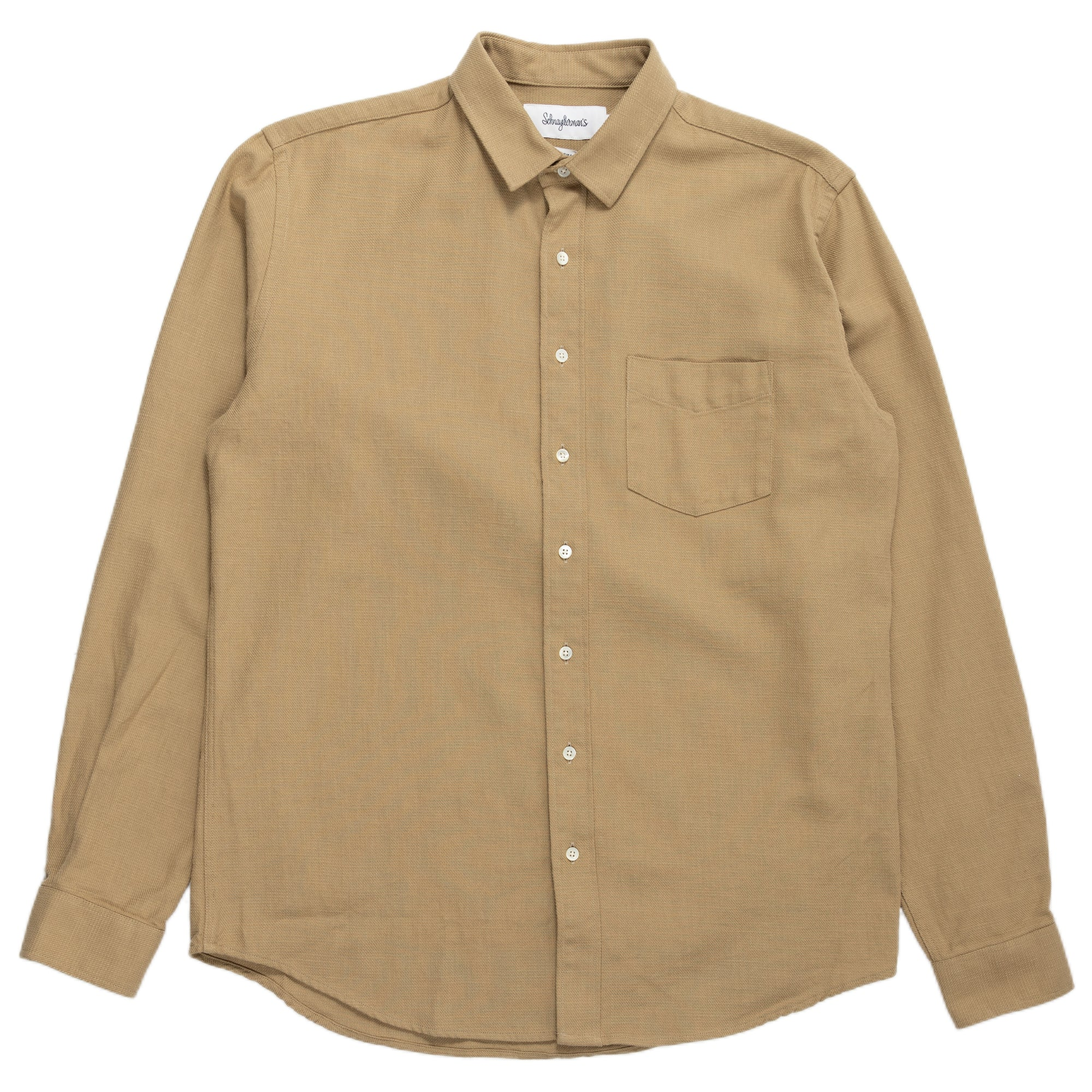 Schnaydermans Shirt Unbutton Broken Twill Army Beige Button Up Front