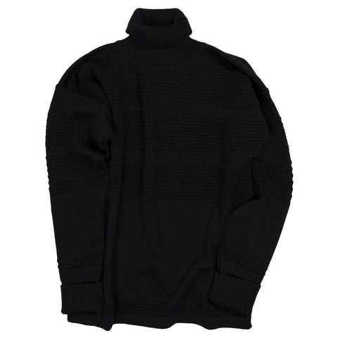 Fisherman Turtleneck Sweater - Navy