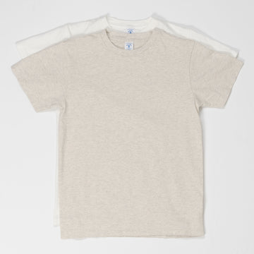 2 Pack Crewneck Plain Tee - White/Oatmeal