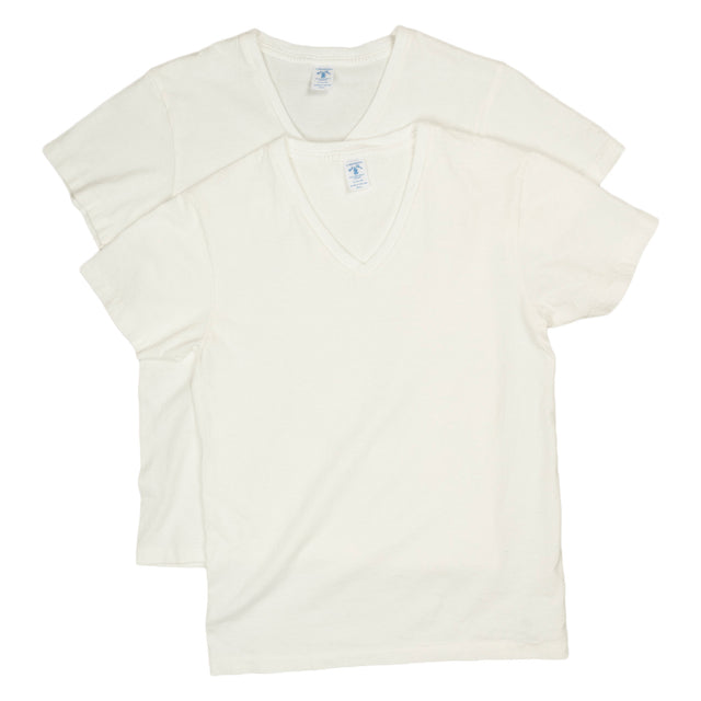 2 Pack V Neck Plain Tee - White