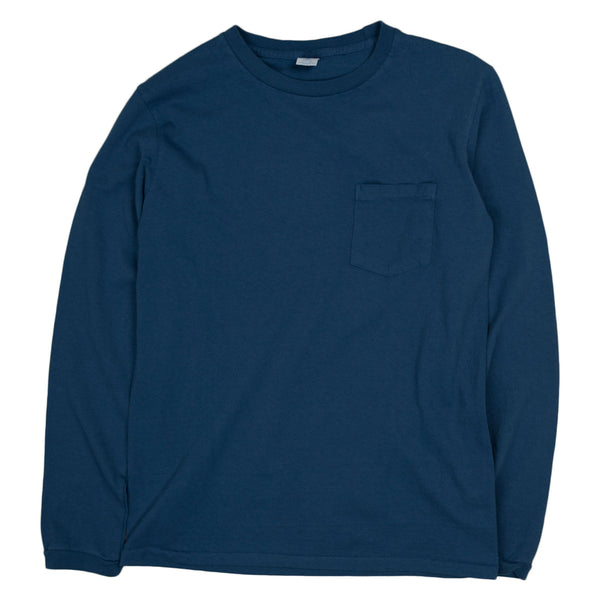 Crewneck Long Sleeve Pocket Tee - Navy