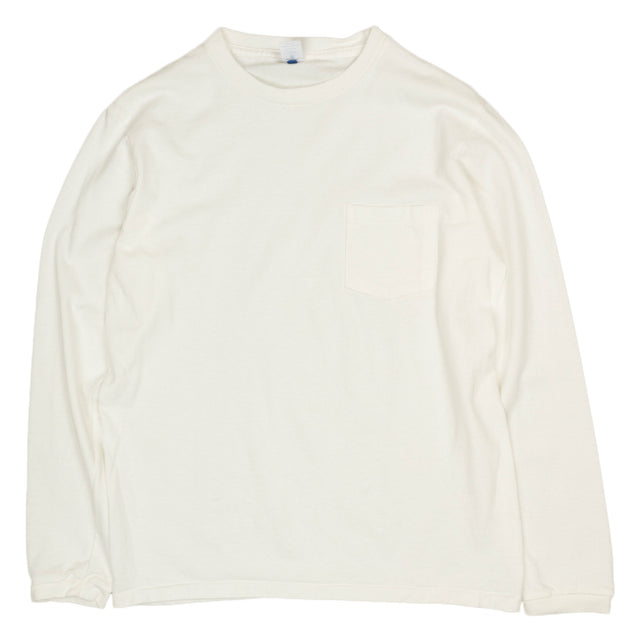 Crewneck Long Sleeve Pocket Tee - White