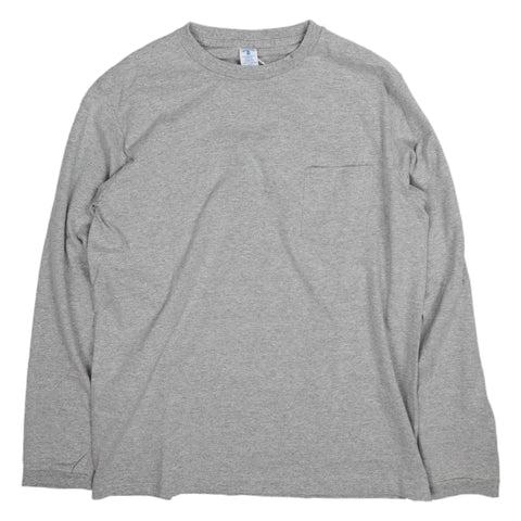 Crewneck Long Sleeve Tee with Pocket - Heather Grey