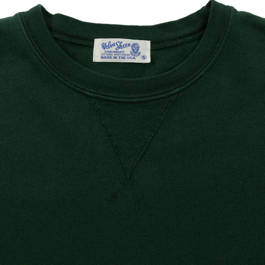 velva sheen heavy pigment crewneck sweatshirt green sweater collar