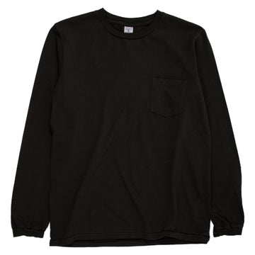 velva sheen tubular long sleeve crewneck tee with pocket black