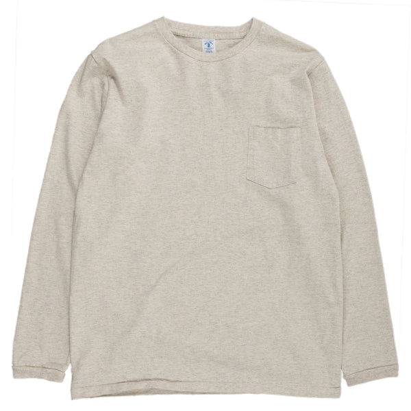 velva sheen tubular long sleeve crewneck tee with pocket oatmeal