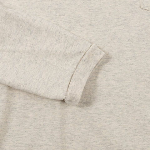 velva sheen tubular long sleeve crewneck tee with pocket oatmeal cuff detail