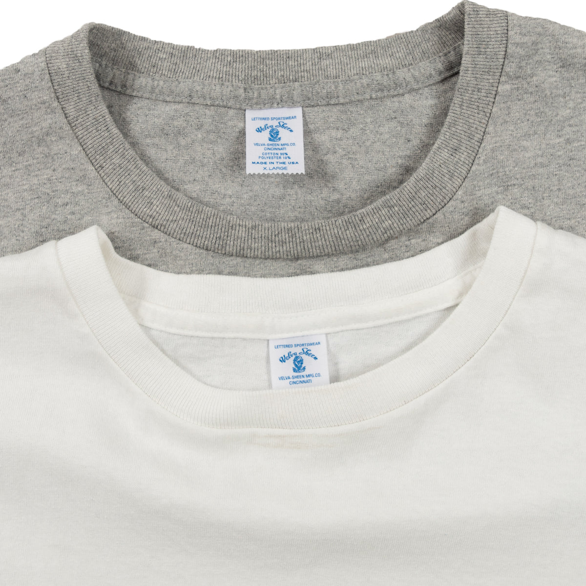 Velva Sheen Crewneck Tee Shirt T-Shirt Two Pack White Grey Collar