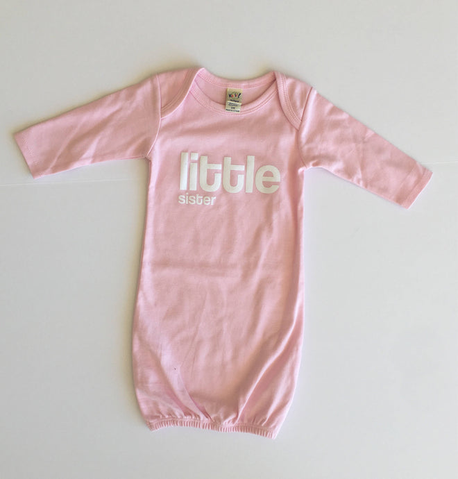 Little Sister Sleep Sack, Screen Printed Little Sister Panamas, Baby PJs