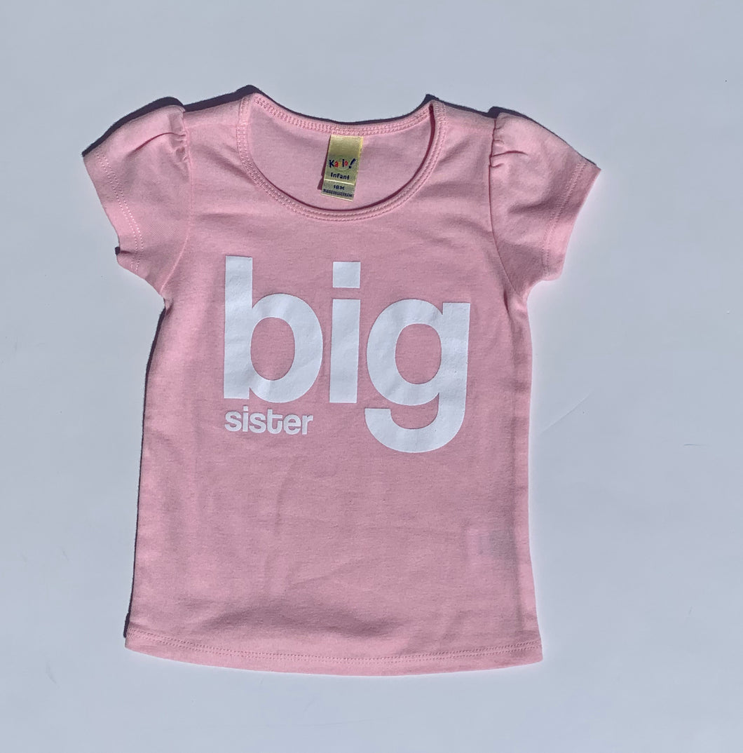 Big Sister Pink Puffed Sleeve Tee
