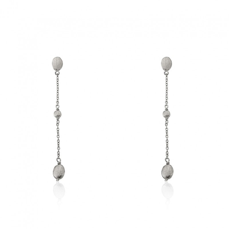 ARCTIC MIST Long Chain Brushed Nugget Earrings