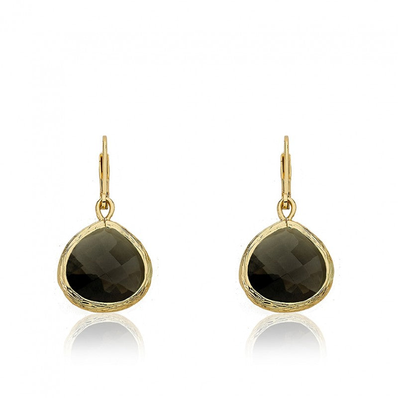ARCTIC MIST Gold And Stone Leverback Earrings