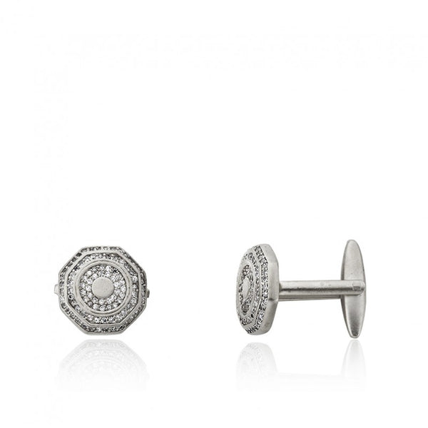 CZ Filled Hexagon Cufflinks