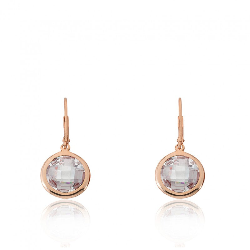 ARCTIC MIST Round Clear Briolet Rose Gold Earrings