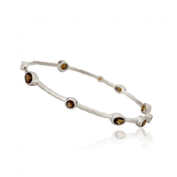ARCTIC MIST Hammered Small Stones Thin Bangle