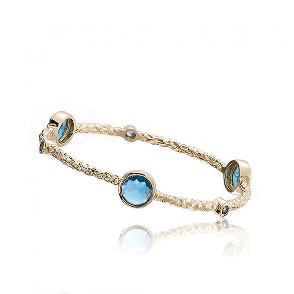 ARCTIC MIST Hammered Bangle With Round Stones