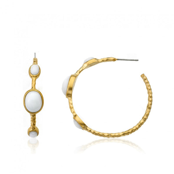 ARCTIC MIST Hammered Gold Hoop Earrings