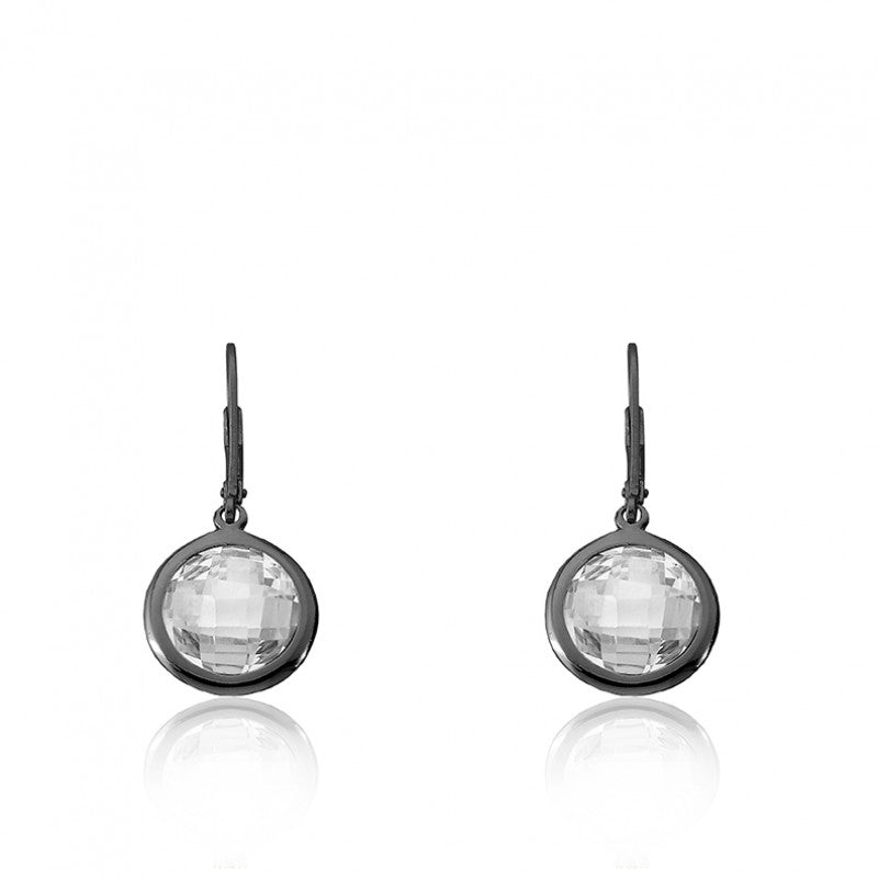 ARCTIC MIST Round Clear Briolet Black Rhodium Plated Earrings