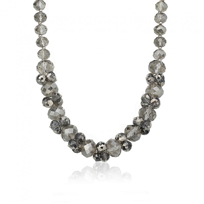 AVANT-GARDE Clear Faceted Glass Necklace