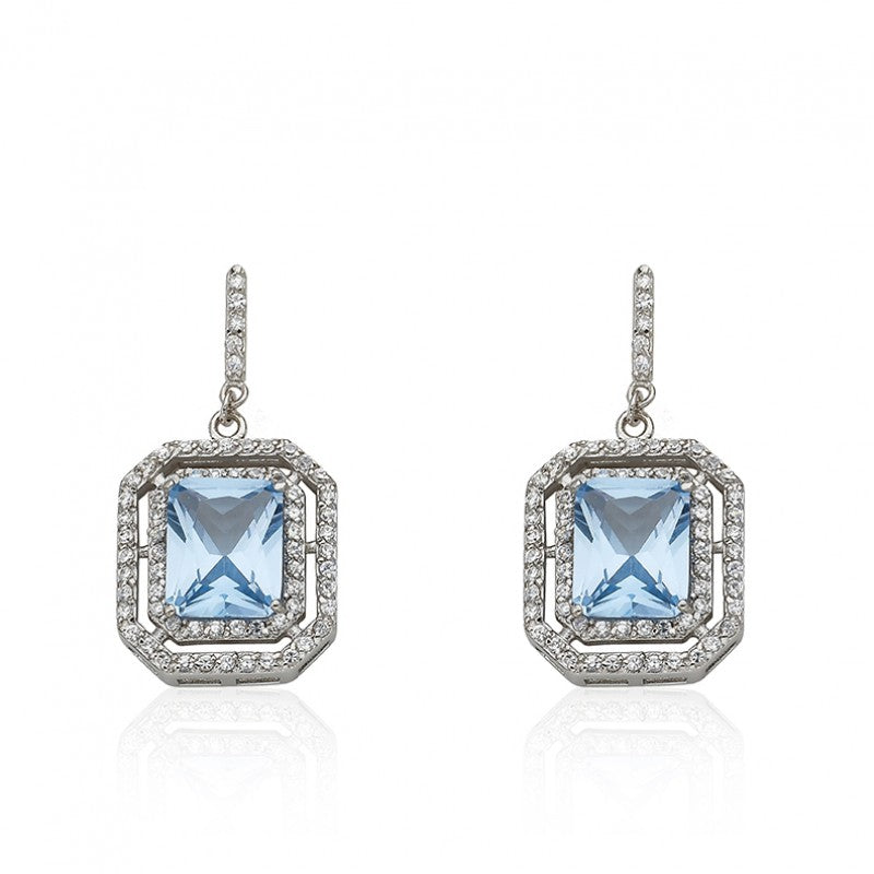 ARCTIC MIST Rectangle Around Aqua Stone Earrings