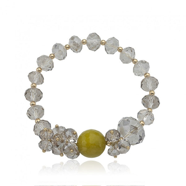 AVANT-GARDE Green Faceted center Bead Bracelet