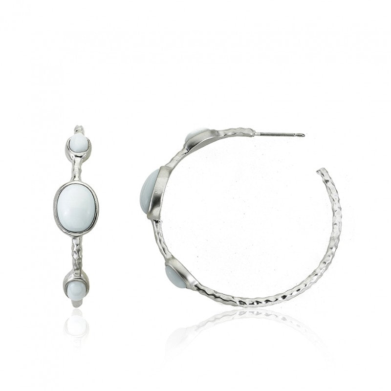 ARCTIC MIST Hammered Hoop Earrings