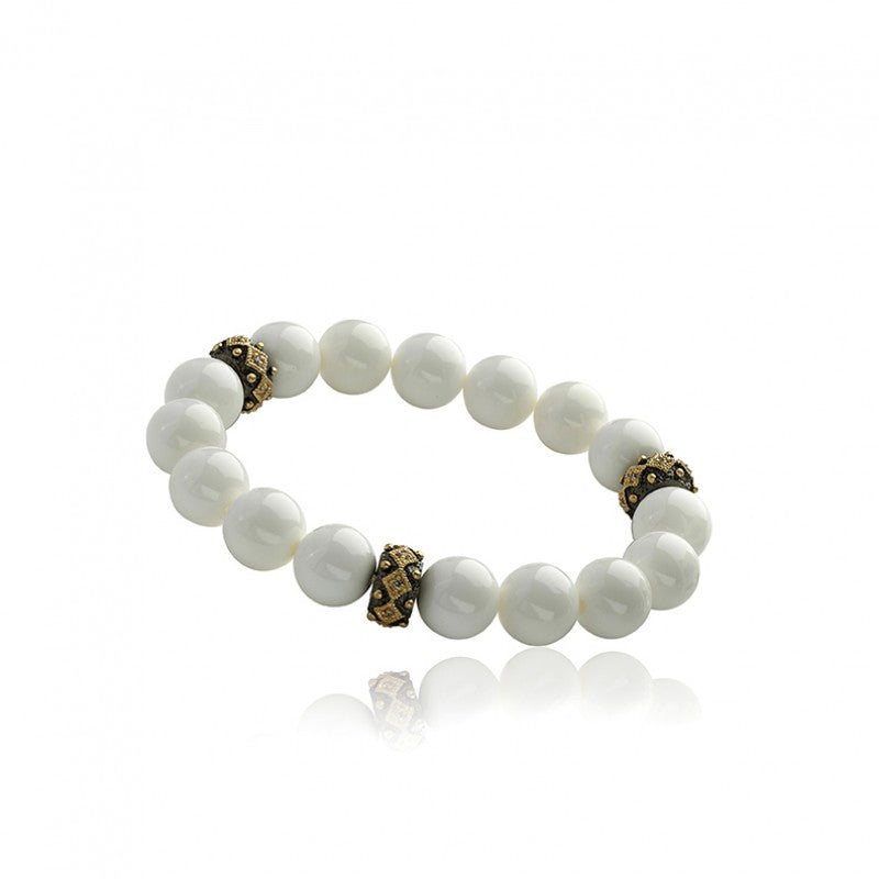AVANT-GARDE White Agate Beads Stretch Bracelet