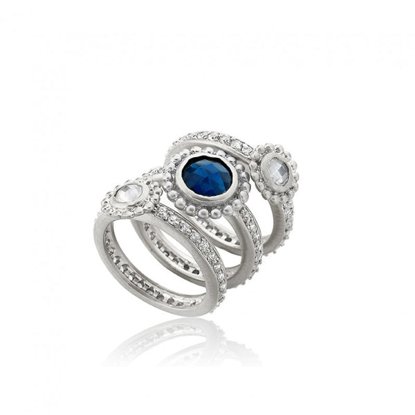 ARCTIC MIST White & Blue 3 Stack Ring