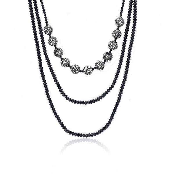 AVANT-GARDE Onyx Beads Long Necklace