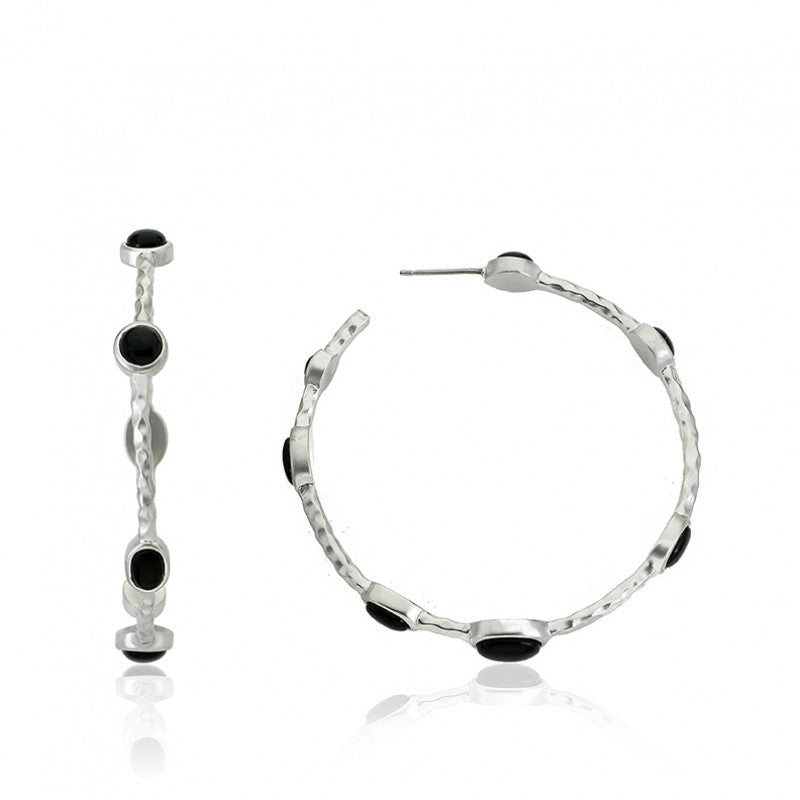 ARCTIC MIST Hammered Large Hoop Earrings
