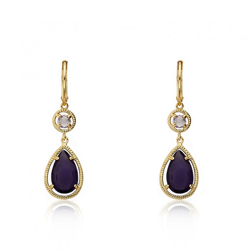 ARCTIC MIST Teardrop Leverback Gold Earrings